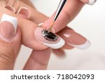 nail polish. art manicure.... | Shutterstock . vector #718042093