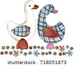 Goose. Cartoon Farm Animal....