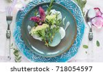 table setting in rustic style ... | Shutterstock . vector #718054597