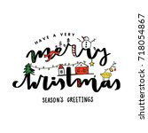 christmas vector lettering... | Shutterstock .eps vector #718054867