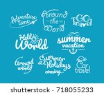 adventure logos vector... | Shutterstock .eps vector #718055233