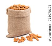 almonds in bag from sacking...   Shutterstock . vector #718070173