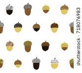 acorn seamless pattern. vector... | Shutterstock .eps vector #718076983