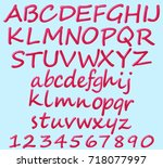 english alphabet and numbers...   Shutterstock .eps vector #718077997