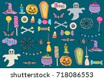halloween icons. holiday design ... | Shutterstock .eps vector #718086553