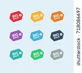 set of colorful big sale badges ... | Shutterstock .eps vector #718086697