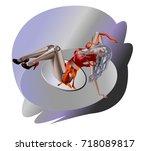 robot girl. vector illustration ... | Shutterstock .eps vector #718089817