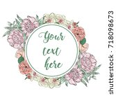 floral greeting card with...   Shutterstock .eps vector #718098673