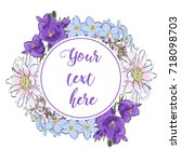 floral greeting card with...   Shutterstock .eps vector #718098703