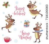 vector set with cheerful deer... | Shutterstock .eps vector #718100083