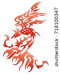 illustrations of a fiery bird... | Shutterstock .eps vector #718100347