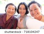 selfie senior woman with... | Shutterstock . vector #718104247