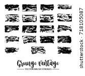 set of black brush stroke and... | Shutterstock .eps vector #718105087