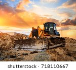 bulldozer on a building site at ... | Shutterstock . vector #718110667