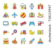kids toys color icons set....