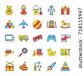 kids toys color icons set....