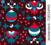 vector simple folk floral...   Shutterstock .eps vector #718116943