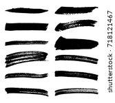 black grunge shape texture set... | Shutterstock .eps vector #718121467