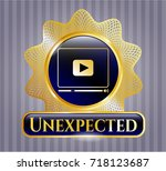 gold emblem with video player... | Shutterstock .eps vector #718123687