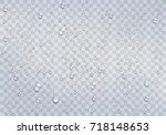 realistic rain drops on the... | Shutterstock .eps vector #718148653