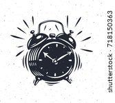 hand drawn alarm clock isolated ... | Shutterstock .eps vector #718150363