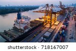 container ship in export and... | Shutterstock . vector #718167007