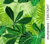 seamless pattern with tropical... | Shutterstock .eps vector #718176247