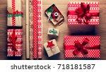 beautiful retro christmas gift... | Shutterstock . vector #718181587