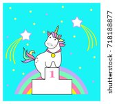 magic cute unicorn  stars and... | Shutterstock .eps vector #718188877