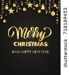 merry christmas card with hand... | Shutterstock .eps vector #718189453