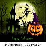 halloween spooky background | Shutterstock .eps vector #718191517