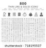 set of 800 thin line and solid... | Shutterstock .eps vector #718195537
