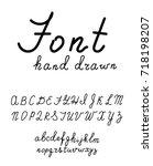 hand drawn fonts. handwritten ... | Shutterstock .eps vector #718198207