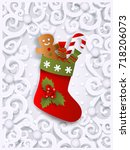 christmas greeting card... | Shutterstock .eps vector #718206073
