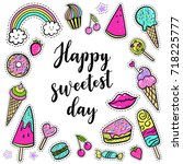 vector happy sweetest day card... | Shutterstock .eps vector #718225777