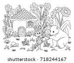 vector illustration zentangl. a ... | Shutterstock .eps vector #718244167