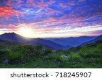 mountain sunrise landscape with ... | Shutterstock . vector #718245907