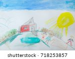 children's drawing of the... | Shutterstock . vector #718253857