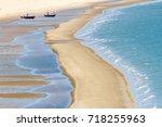 beautiful summer long beach and ...   Shutterstock . vector #718255963