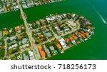 venetian islands  miami beach ...   Shutterstock . vector #718256173