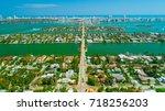 venetian islands  miami beach ...   Shutterstock . vector #718256203