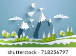 paper airplanes fly across... | Shutterstock .eps vector #718256797