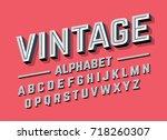 retro style 3d alphabet  vector ... | Shutterstock .eps vector #718260307