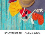 summer holiday background with...   Shutterstock . vector #718261303