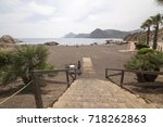 dark beach in  of portman...   Shutterstock . vector #718262863