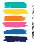 set   watercolor brush strokes... | Shutterstock . vector #718262977
