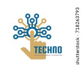 techno   vector logo template... | Shutterstock .eps vector #718263793