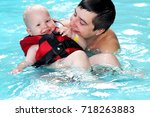 healthy family father teaching... | Shutterstock . vector #718263883
