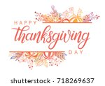 thanksgiving typography.hand... | Shutterstock .eps vector #718269637