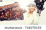 winter  vacation  christmas and ... | Shutterstock . vector #718270153